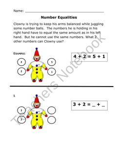 Clowning Around Number Equalities product from Soaring-in-Second-Grade on TeachersNotebook.com