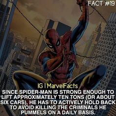 The strength of Spider-Man Marvel News, Marvel Facts, Marvel Jokes, Dc Comics Superheroes, Marvel Dc Comics, Marvel Heroes, Marvel Comic Universe, Comics Universe, Spider Man Facts