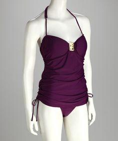 Purple Full-Figure Skirted One-Piece