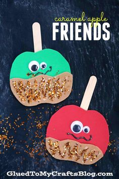 Caramel Apple Friends - Kinderhandwerk - Fall crafts for kids - Daycare Crafts, Classroom Crafts, Kid Crafts, Dinosaur Crafts, Pre School Crafts, Candy Theme Classroom, 1st Grade Crafts, Autumn Activities, Craft Activities