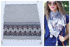 Paisley Print Scarf With Tassels