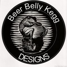 """""""Beer Belly Kegg"""" is a linocut block print I created for a logo design. On the backside of all my coasters."""