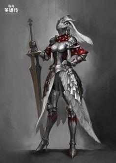 Ideas For Design Character Warrior Rpg Fantasy Female Warrior, Female Armor, Female Knight, Fantasy Armor, Medieval Fantasy, Dark Fantasy Art, Fantasy Girl, Female Character Design, Character Design Inspiration