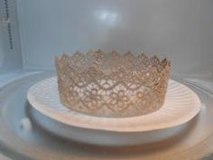 lace microwaved crowns--- would be cool for princess play day- so each lil girl can have a crown