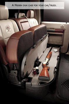 Badass Hidden Gun Storage In The Cabela's Edition Ford Superduty. Ford Diesel, Diesel Trucks, Ford Expedition, Ford Trucks, Pickup Trucks, Rifles, Hidden Gun Safe, Hidden Weapons, Auto Girls