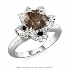 Engagement Ring LOTUS BLOSSOM PETITE with Smoky Quartz in 14k White Gold #engagement #ring