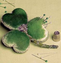 Luck of the Irish - Green Velvet Shamrock Pincushion.