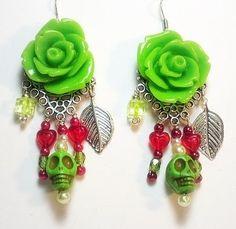 green skull & rose earrings