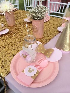 Fun place setting at a pink and gold Minnie Mouse birthday party! See more party planning ideas at CatchMyParty.com!