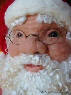 Santa Claus Needle Felted Bust Life Size Father by McBrideHouse