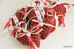 Set 9 pz Cuori di Natale in pannolencio a pois - rosso scuro : Accessori casa di cristiana-farecreare