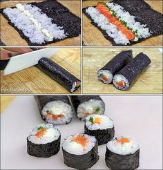 Learn/Make sushi for a friend who loves it Japanese Dishes, Japanese Food, Sushi Recipes, Cooking Recipes, Sushi Comida, Sushi At Home, Sushi Time, Homemade Sushi, Diy Food