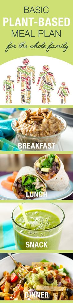 This flexible basic plant-based meal plan offers a basic formula for breakfast, lunch, snack, and dinner and even accommodates meat-eating family members! | VeggiePrimer.com