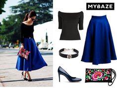 Elegant black shirt and cobalt skirt #elegant #fashion #bag