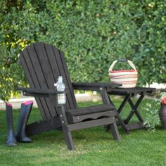 Coral Coast Big Daddy Adirondack Chair With Pull Out Ottoman And Cup Holder    Charcoal