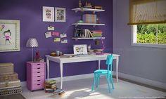 Conjunto para Escritório Home Office com Mesa, Cadeira, Gaveteiro e Prateleiras Branco/Azul Retrô/Lilás - Caaza