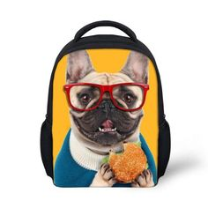 French Bulldog with Hamburger and Glasses, Adorable Cute Animal Mini 3D Children's Backpack 6 Colors