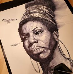 A beautiful ink drasing by the Chicago born and Atlanta based artist K.A. Williams II also known as WAK that depicts the late great Nina Simone!...