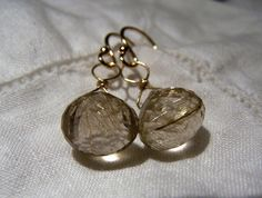 Gold Rutilated Quartz 14K solid Gold earrings by JPGemJewels