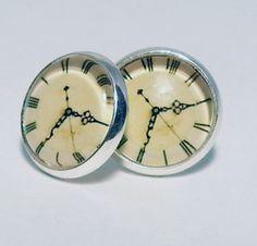 Stud Earrings  Clock Design studs 12mm  Silver by MagnoliaAlley, $7.50
