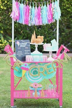Simple Ice Cream Social ideas they'll scream for! A cute, pastel ice cream birthday party decoration Unicorn Birthday Parties, Unicorn Party, Birthday Party Decorations, 2nd Birthday, Frozen Birthday, Party Favors, Ice Cream Party, Ice Cream Theme, Popsicle Party