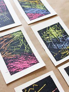 Art ideas for kids: Make DIY scratchboard cards.