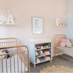 The incredible Belinda across at Petite Vintage Interiors has done it again with the most outstanding nursery… for twins! Bel was working with Sophie Guidolin to create her dream nursery for her twin girls and… Gold Nursery, Nursery Modern, White Nursery, Vintage Nursery, Elephant Nursery, Small Twin Nursery, Twin Nursery Gender Neutral, Nursery Twins, Twin Room