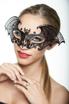 Women's Bat Masquerade Mask - Sexy Black Bat Inspired Metal Filigree Laser Cut Masquerade Mask