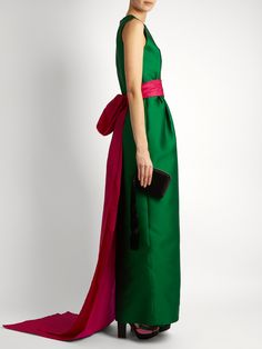 Bi-colour satin column gown  | Oscar De La Renta | MATCHESFASHION.COM UK
