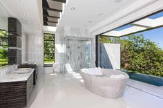 Bathroom looking out from the Hollywood Hills