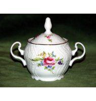 Cukřenka 0,3 l, Thun 1794, karlovarský porcelán, BERNADOTTE růže + zlato