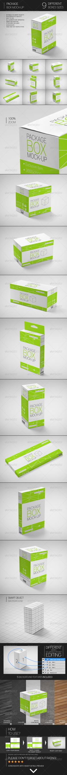 Package Box Mock-Up. 9 photorealistic mock-ups, editable via smart objects, easy to use.
