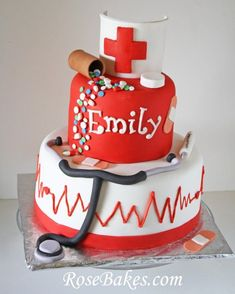 Nursing School Graduation Cake... a perfect cake for a nurse's birthday or graduation!  Click over for more pics and details on how I made it!