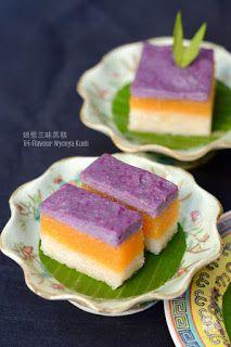 Coco's Sweet Tooth ......The Furry Bakers: 娘惹三味蒸糕 Tri-Flavour Nyonya Kueh
