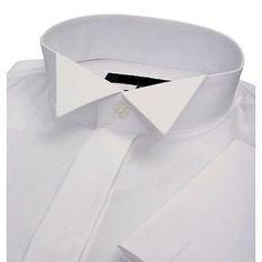 "MENS NEW WHITE WING COLLAR CRUISE TUXEDO WEDDING DRESS SHIRT 15 16 17 18 1/2 """