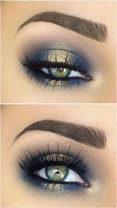Blue and gold eyeshadow. #goldeyeshadows #eyemakeupsmokey
