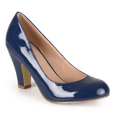 Journee Collection Wanda Women's Faux-Patent High Heels, Girl's, Size: 6.5, Blue (Navy)
