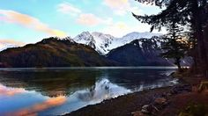 Sunrise on Lake Eyak looking at Queens Chair. Cordova Alaska