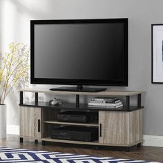 TV Stand Flat Screen Wood Entertainment Center Home Theater