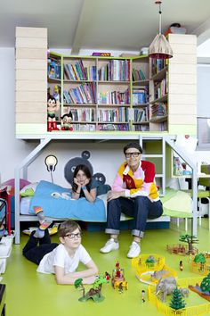 the boo and the boy: eclectic kids' rooms  Faire un coin lecture sur lit superpose