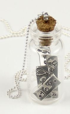 Silver Sentiments Bottle Necklace - Hand Stamped Vial Necklace-silver sentiments, bottle necklace, vial necklace, hand stamped words, sterling silver, ball chain