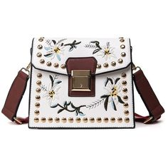 Floral Embroidery Rivet Crossbody Bag (73 AED) ❤ liked on Polyvore featuring bags, handbags and shoulder bags