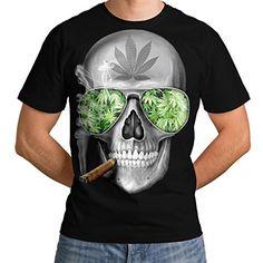 a8182a0e048780 Skeleton Smoke Weed Cool Skull Men NEW Black White Grey Red Royal Blue  S-5XL T-shirt