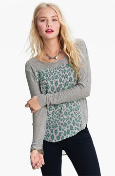 Lush Print Mixed Media Dolman Top -- Mint/Grey | Came back for this one, too. Great cut, light and good for layering :)