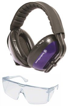 Smith & Wesson SW201C Performance Safety Hearing Earmuffs Ear Muffs NRR 20dB Adjustable Padded Head Band & Soft Cushion Adjustable Ear Cups + Ultimate Arms Gear Peltor Safety Eyeglass Protectors Protective Clear Lens Shooting Glasses