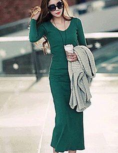Das CoolCube Mulheres V pescoço comprimento Malhas manga comprida Bodycon tornozelo vestido verde