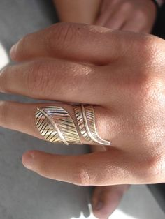 bronze ring feather ring leaf ring forest jewellery feather ring. $25.00, via Etsy.