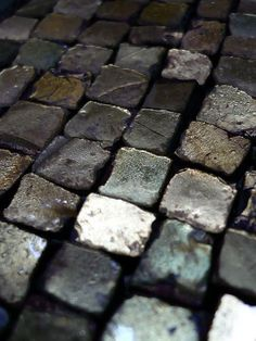 grey, steffen tuck, look almost metallic, are they stone setts, graphite pieces or metal blocks? Textures Patterns, Color Patterns, Foto Macro, Wabi Sabi, Shades Of Grey, Color Inspiration, Gray Color, Stone, Metal