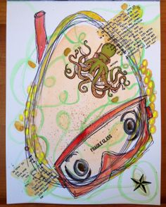 """shauna lee lange art journals, fragile glass octopus, 12 x 9"""", watercolor and mixed media on paper"""