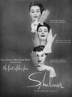 Proving that fashion designer/popular brand collaborations are anything but new! :) #vintage #1950s #gloves #ad #Dior #fashion
